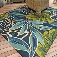 Couristan Covington Areca Palms/Azure-Forest Green Area Rug - 3'6 x 5'6