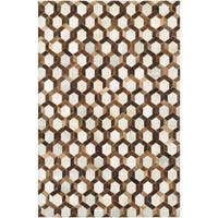 Couristan Chalet Spectrum/Ivory-Brown Cowhide Leather Area Rug - 3'4 x 5'4
