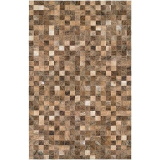 """Hand-Crafted Couristan Chalet Pixels Brown Cowhide Leather Area Rug - 3'4"""" x 5'4"""""""