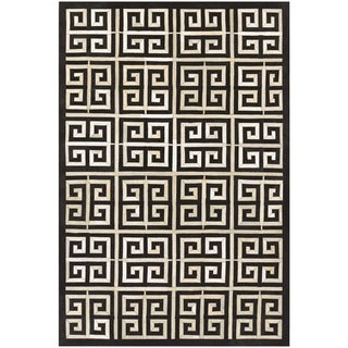 Couristan Chalet Meander/Black-Ivory Cowhide Leather Area Rug - 3'6 x 5'6