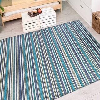 Vector Mendocino Blue-Teal Indoor/Outdoor Area Rug - 3'11 x 5'6