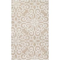 """Couristan Bowery Livonia/Cream-Taupe Wool Area Rug - 3'4"""" x 5'4"""""""