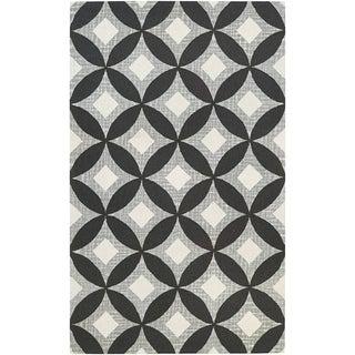 "Couristan Bowery Canarsie/Charcoal-Grey Wool Area Rug - 3'4"" x 5'4"""