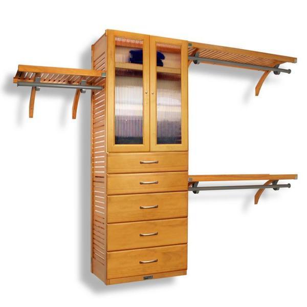 John Louis Home Deluxe 16-inch Honey Maple Door and 5-drawer Closet Organizer