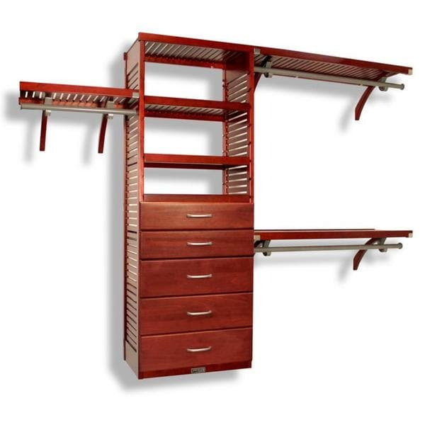 John Louis Home 16 Inch Deluxe Red Mahogany 5 Drawer Closet Organizer