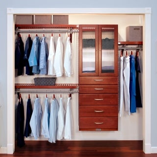 John Louis Home Deluxe 16 Inch Red Mahogany Door And 5 Drawer Closet  Organizer