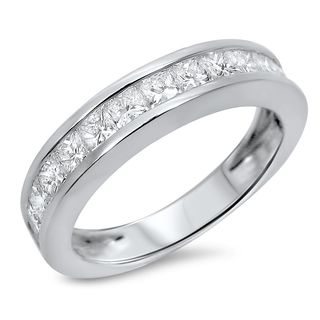 Noori 14k White Gold 1ct TDW Princess-cut Diamond Wedding Band - White G-H (5 options available)