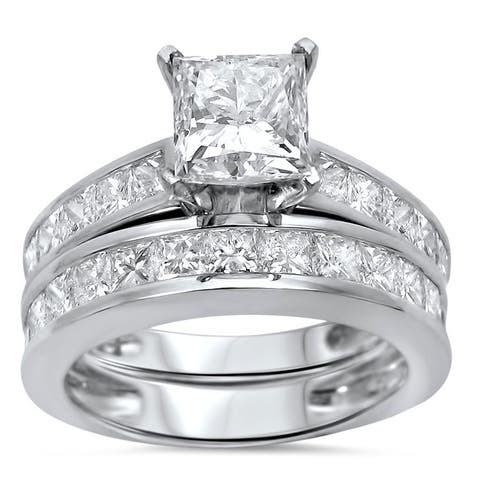 Noori 14k White Gold 2 3/5 ct TDW Princess Clarity Enhanced Diamond Bridal Set