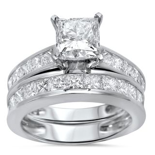 Noori 14k White Gold 2 3/5 ct TDW Princess Clarity Enhanced Diamond Bridal Set