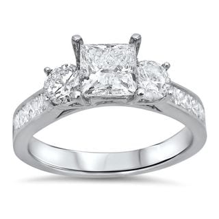 Noori 14k White Gold 1 3/4ct TDW Princess Cut Diamond Clarity Enhanced 3 Stone Engagement Ring