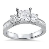 Noori 14k White Gold 1 3/4ct TDW Princess Cut Diamond Clarity Enhanced 3 Stone Engagement Ring