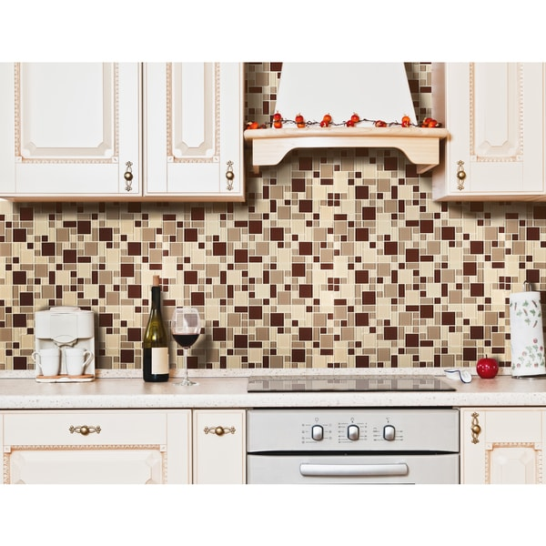 instant mosaic tan taupe brown peel and stick glass tile free shipping today overstock. Black Bedroom Furniture Sets. Home Design Ideas
