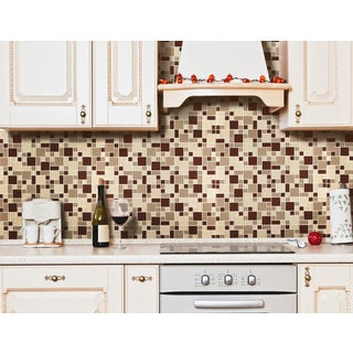 Instant Mosaic Tan/ Taupe/ Brown Peel and Stick Glass Tile