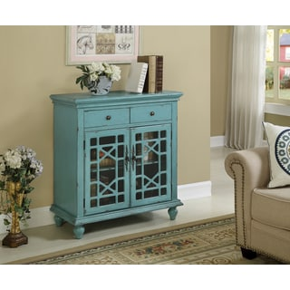 Christopher Knight Home Bayberry Blue Lattice Two Door Two Drawer Cabinet