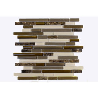 Mesh-Mounted Frosted Glass/ Natural Stone Mosaic Wall Tile (Pack of 6)