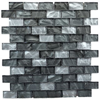 Mesh-mounted Metallic Grey Mosaic Wall Tile (Pack of 6)