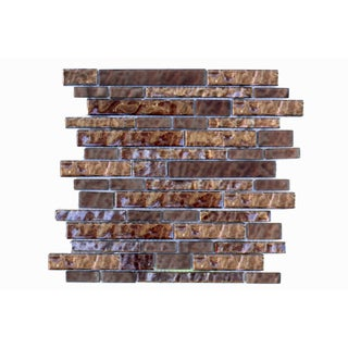 Mesh-Mounted Metallic Brown Mosaic Wall Tile (Pack of 6)