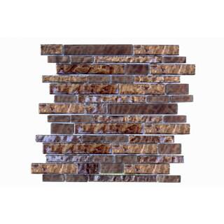 Mesh-Mounted Brown Mosaic Wall Tile (Pack of 6)