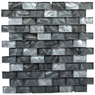 Grey/ Silver Mesh-Mounted Square Foot Mosaic Wall Tile (Pack of 6)