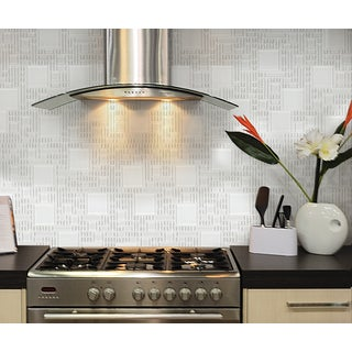 "Instant Mosaic 12"" x 12"" Peel-and-Stick White Glass Tile (6 Sq. Ft. Total)"