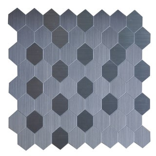 Instant Mosaic 12 Inch Hexagon Peel and Stick Natural Metal Tile (6 square feet)
