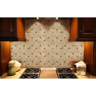 "Instant Mosaic 12"" x 12"" Tan, Beige, and Brown Peel-and-Stick Natural Stone Tile (6 Sq. Ft. Total)"