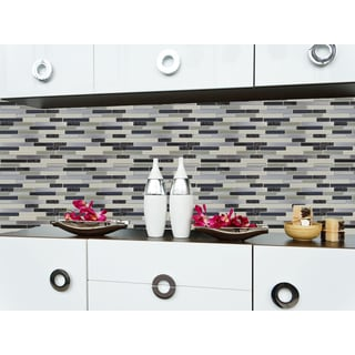 Instant Mosaic 12-inch Peel and Stick Grey Mosaic Rectangle Tiles (6 square feet per set)