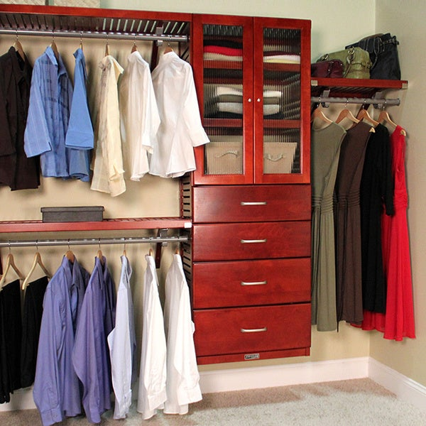 John Louis Home Red Mahogany 16 Inch Deep Door And 4 Drawer Deluxe Closet