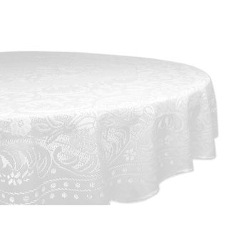 Lace Rosebud 63-inch Round Poly Tablecloth