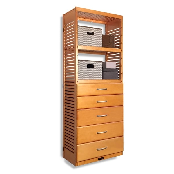 John Louis Home 16in Deep Solid Wood Deluxe 5 Drawer Storage Tower Honey Maple