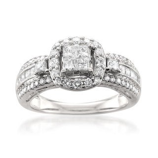 Montebello 14k White Gold 1ct TDW White Diamond Composite Set Ring