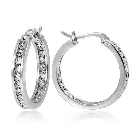 Crystal Ice Sterling Silver Swarovski Elements Channel Set Hoop Earrings