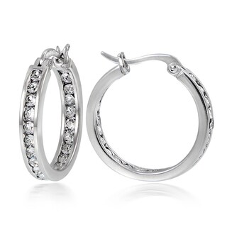 Crystal Ice Sterling Silver Swarovski Elements Channel Set Hoop Earrings