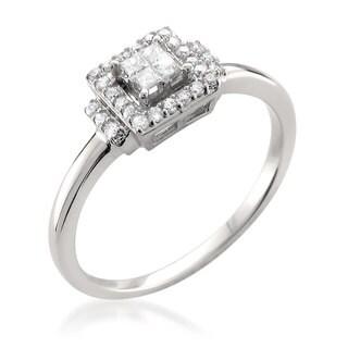Montebello 14k White Gold 1/4ct TDW Princess-cut Diamond Halo Ring