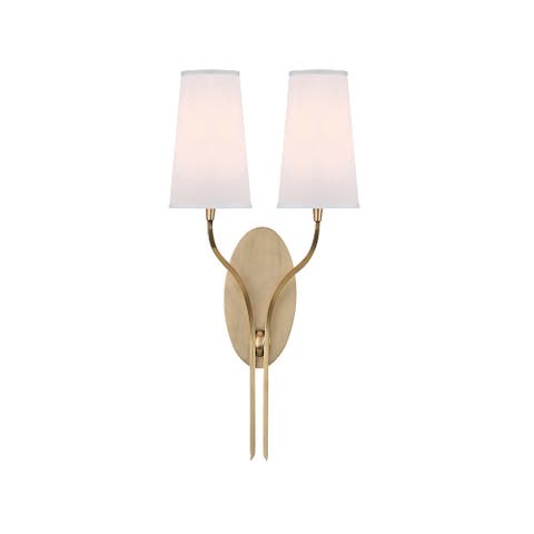 Hudson Valley Rutland 2-light Brass Wall Sconce, White Shade
