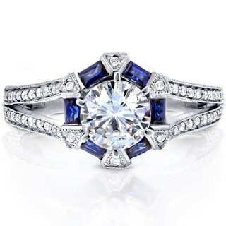 Annello by Kobelli 14k White Gold Forever Brilliant Moissanite, Blue Sapphire and 1/4ct TDW Diamond