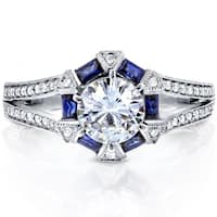 Annello by Kobelli 14k White Gold 1 3/5ct TGW Moissanite (FG), Blue Sapphire Halo, Diamond Split Shank Deco Ring