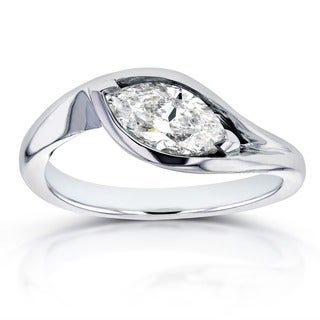 Annello by Kobelli 14k White Gold Certified 1ct Marquise Solitaire Diamond Curved Engagement Ring