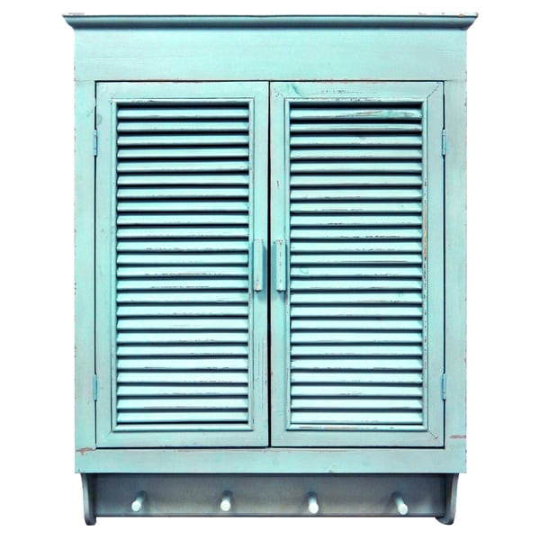 Louvered Wall Cabinet Distressed Cottage Blue Finish