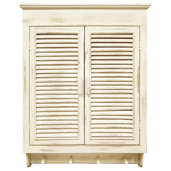 Shop Louvered Wall Cabinet, Distressed Cream Finish - Free ...