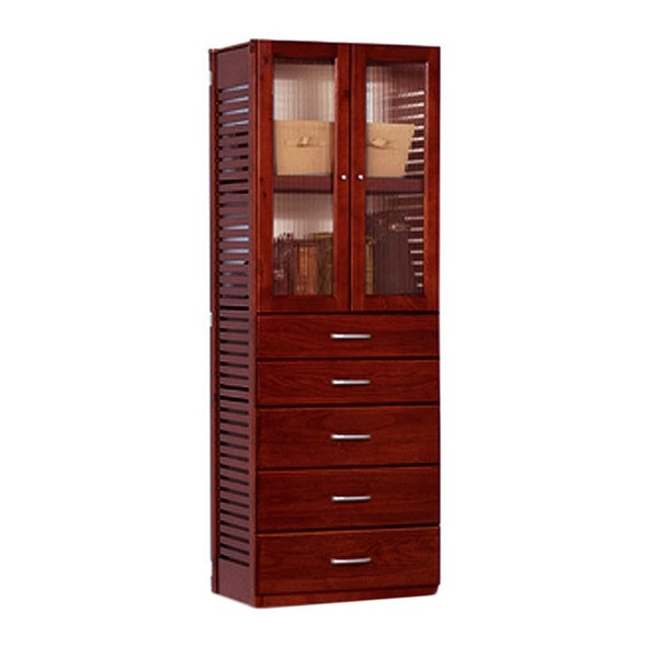 John Louis Home Red Mahogany Door and 5-drawer Stand-Alone Tower
