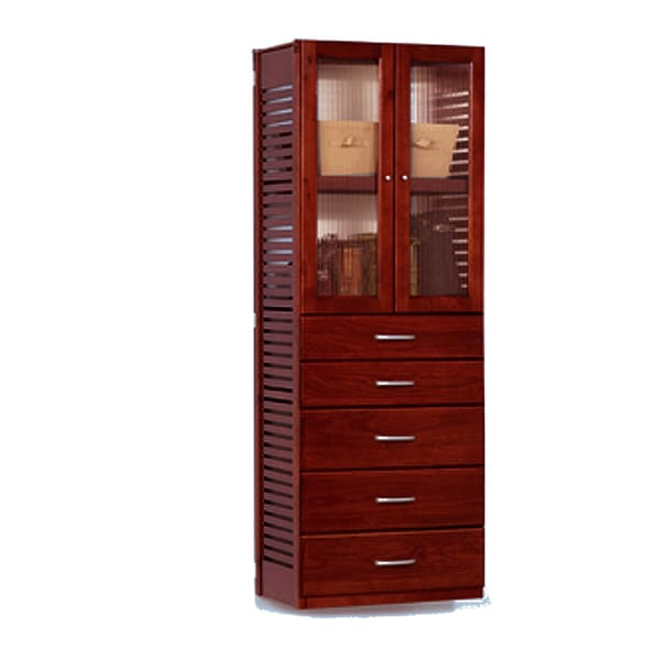 John Louis Home Red Mahogany Door And 5 Drawer Stand Alone Tower Free Shipping Today
