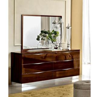 Luca Home Glossy Walnut Double Dresser/ Mirror Set