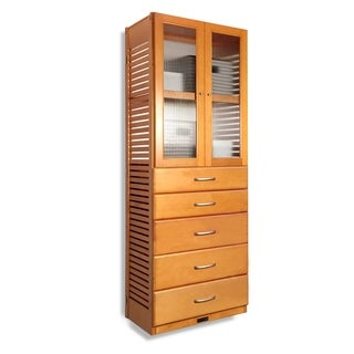 John Louis Home 16in. deep Solid Wood Deluxe 5 Drawer/Doors Storage Tower Honey Maple