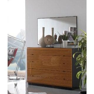 Luca Home Black and Walnut Dresser/ Mirror Set
