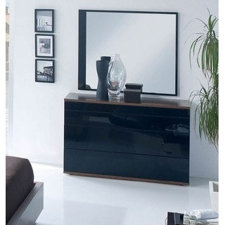 Luca Home Black and Brown Dresser/ Mirror Set