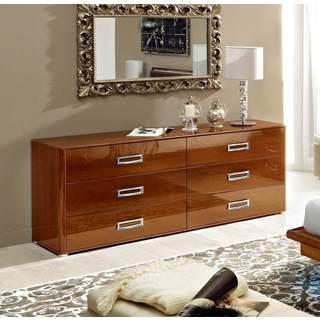 Luca Home Walnut Double Dresser/ Mirror Set