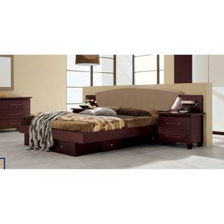 Luca Home Wenge Upholstered Storage Bed