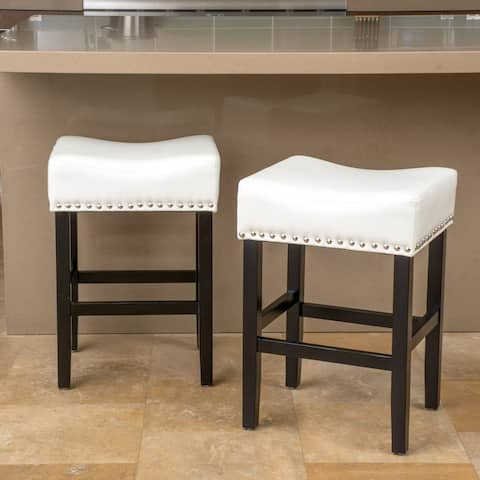 Laramie 26-inch Bonded Leather Backless Counter Stool (Set of 2) by Christopher Knight Home