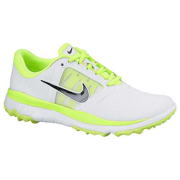 Shop Nike Women s FI Impact White Volt Black Golf Shoes - Free Shipping  Today - Overstock - 10449011 fcf23b012bc